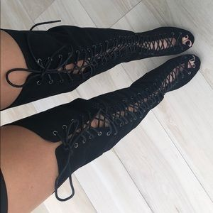 Over the knee black lace up boots 6.5